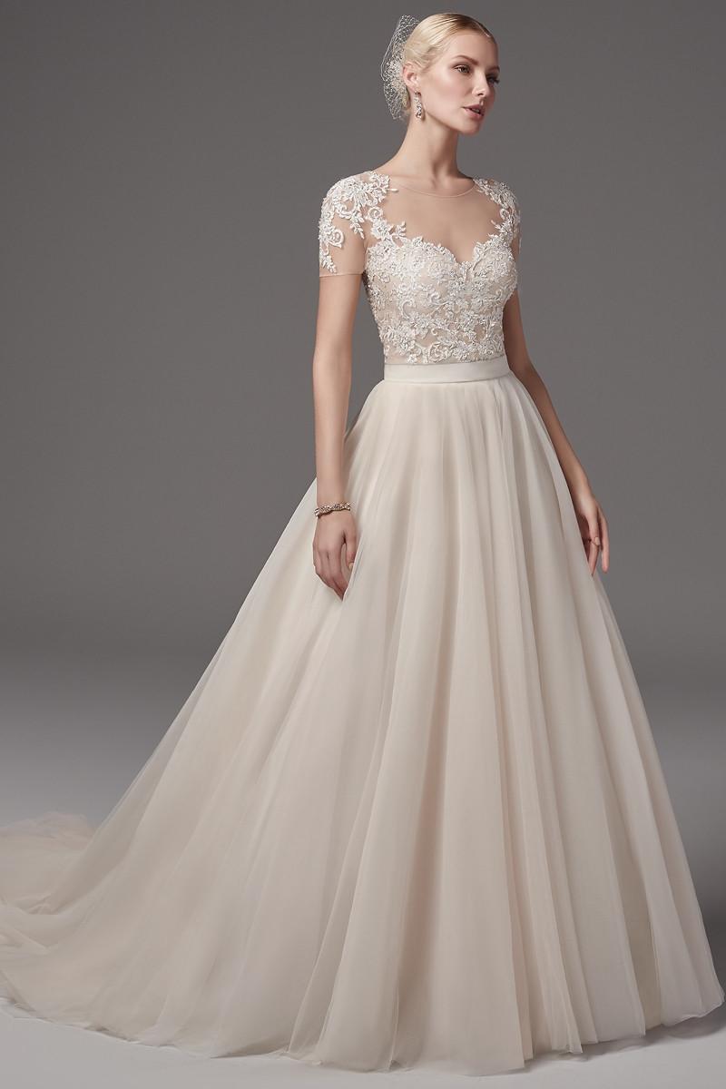 Gillian bodysuit with kallin skirt ball gown wedding dress for Wedding dress bodysuit and skirt