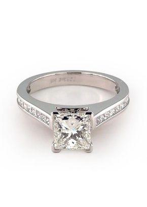 Thin Channel Set Princess Shaped Diamond Engagement Ring, 4421