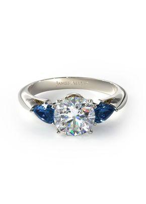 Three Stone Pear Shaped Blue Sapphire Engagement Ring, 4421