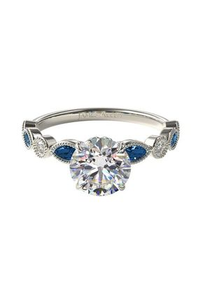 Vintage Round Diamond and Marquise Sapphire Engagement Ring, 4421