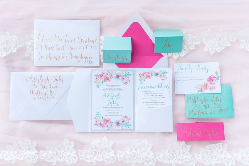 Colorful invitation set
