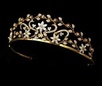 Gold & Ivory Pearl Bridal Tiar