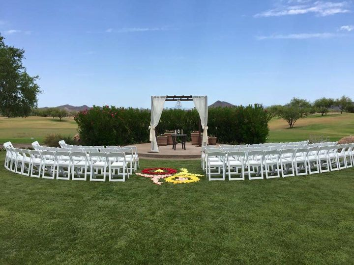 Outdoor wedding day setup