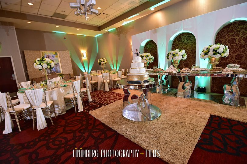 Buffet setup along with the center cake table