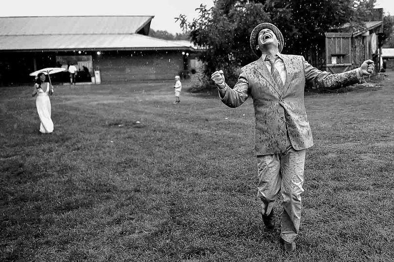 Wedding in the rain.