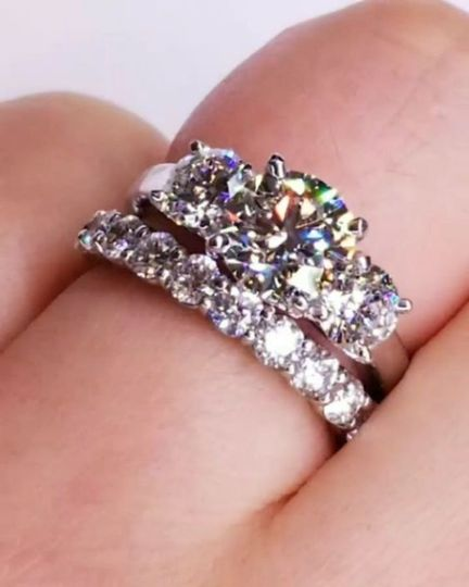 Love 3 stone and shared prong diamond band
