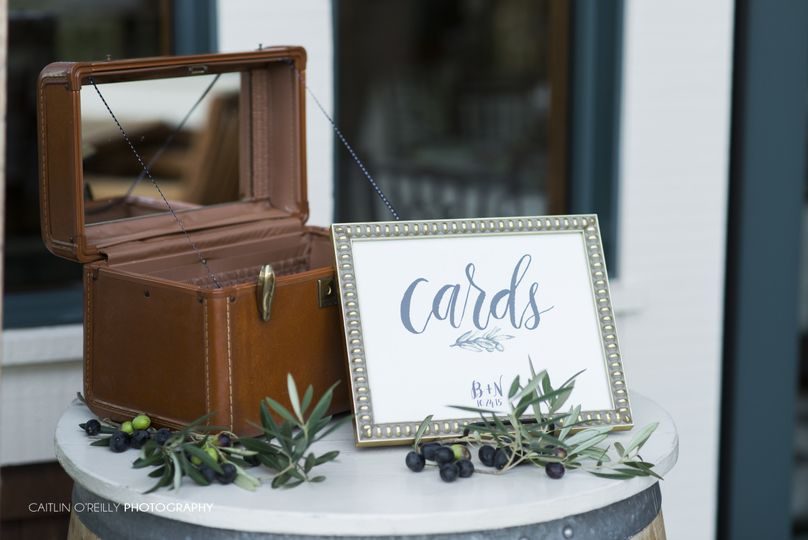 Hand lettered sign done in brush lettering on ecru, felt paper with custom watercolor olive leaf...
