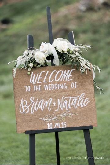 Closeup view of the ceremony welcome sign.