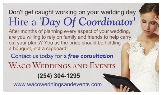 Day Of Coordinator services available (Waco Weddings and Events)