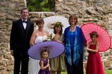 Little girls with umbrellas