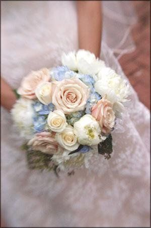 Blue Hydrangea with Champagne Roses and White Peonies