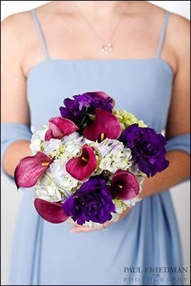 Blue and green Hydrangea with burgundy Calla Lilies and dark purple Lisianthus