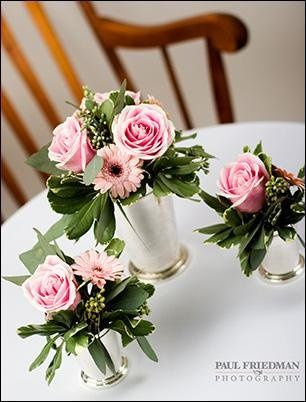 Different sized mint julep cups for decorations and centerpieces.