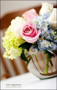 Small fish bowl centerpiece with Hydrangea and Roses.