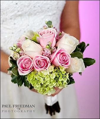 Bouquet with Green Hydrangea, Roses and Pink Stock.