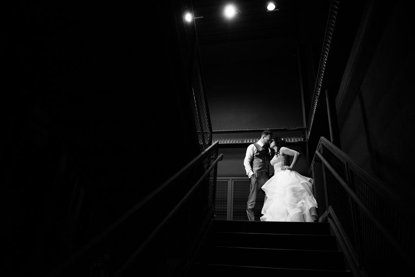 Courtney and Seth in the stairwell at MEET Las Vegas
