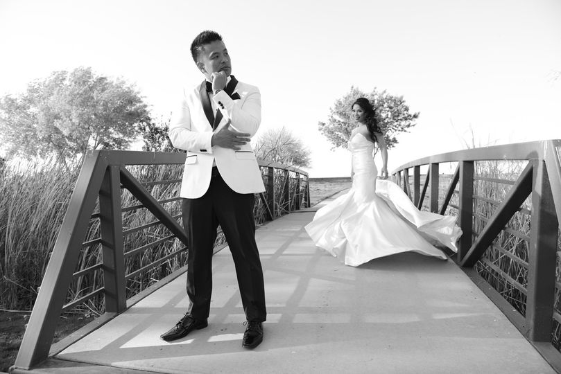 Barbie and Brian on thier windy wedding day at Anthem Country Club