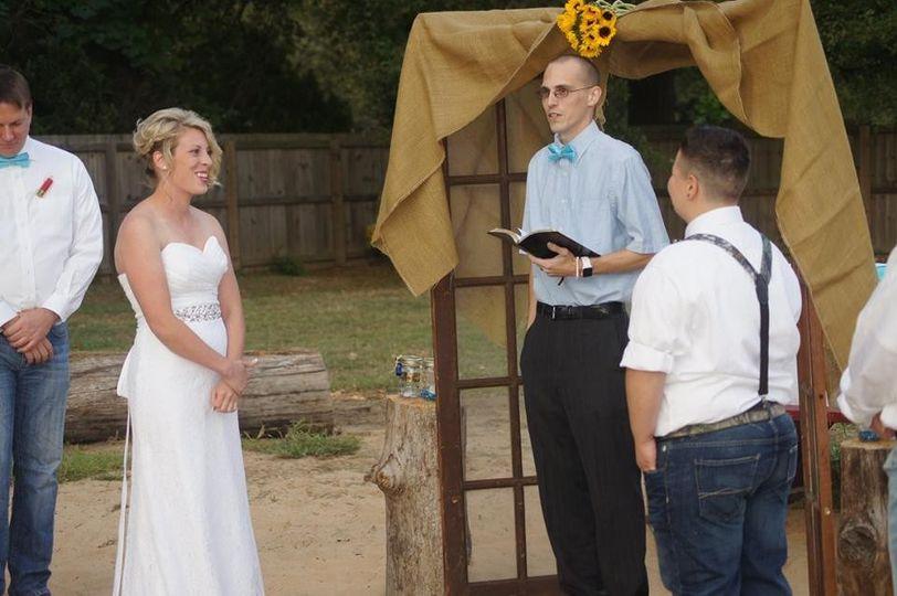 Photo from a wedding I performed for Jade and Tara in Lonoke, Arkansas.  Photo credit: Erin Brooke...