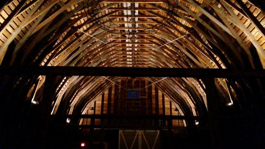 Barn Vaulted Ceiling at Night