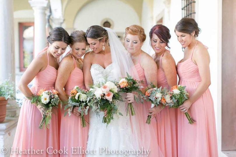 Beautiful bride and bridesmaids
