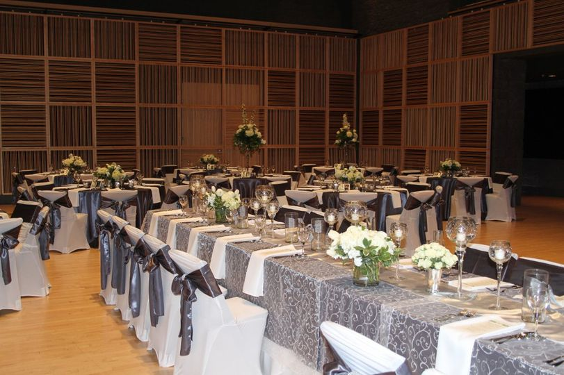 Grey long tables