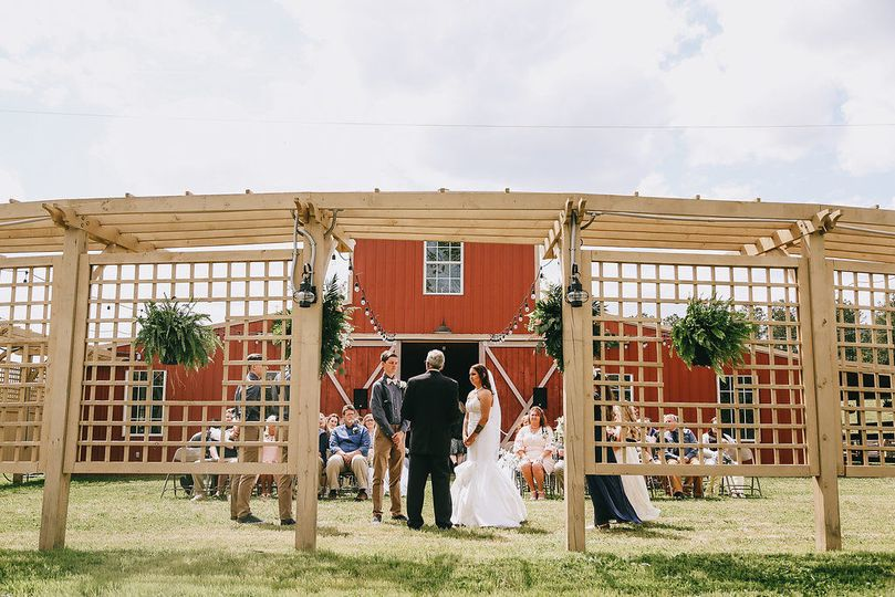 The patio area in front of the barn is bounded by our custom-built pergola, and makes a beautiful...