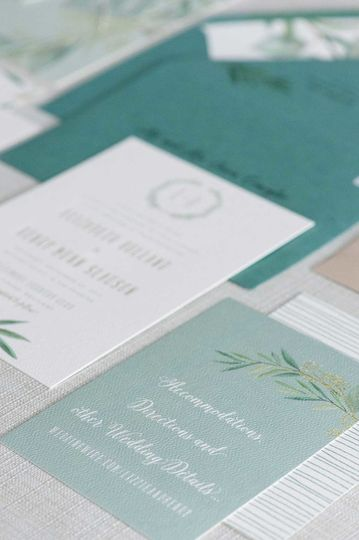 White and green invitation