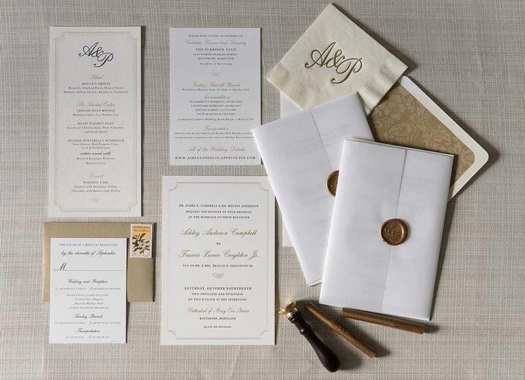 ashley invitationsuite letterpress waxseal elkridg