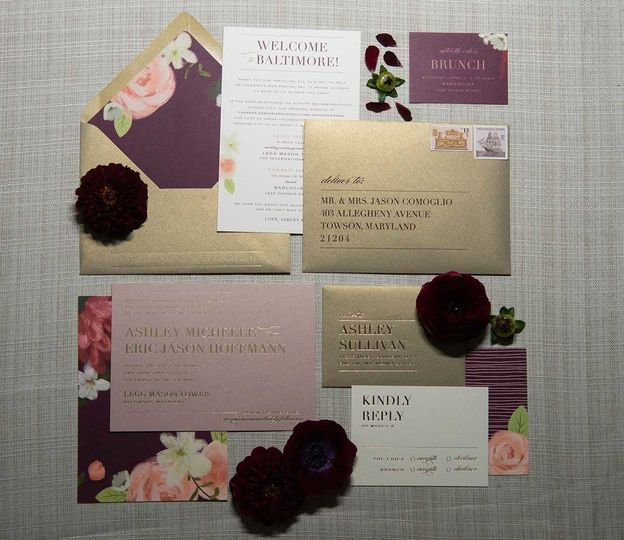 Gold and purple invitation