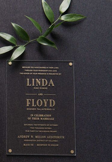 lindafloydacrylicweddinginvitation mellonauditoriu