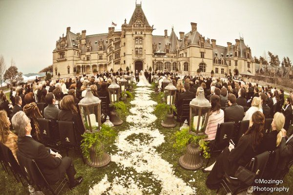 Ashley & Clay's petal covered aisle at the Biltmore Estate in NC.