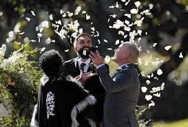 Beautiful wedding with rose petal toss. LGBT wedding celebration. Flyboy Naturals Rose Petals are a...