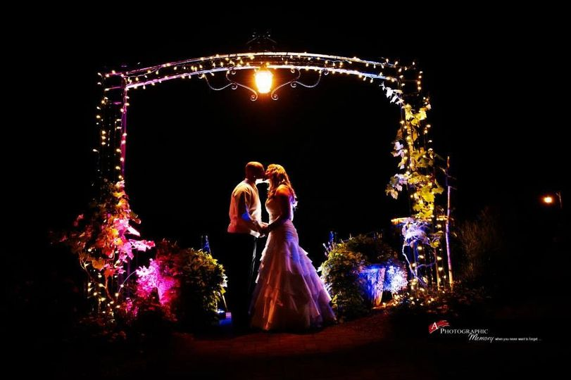 Evening kiss under the lighted arch