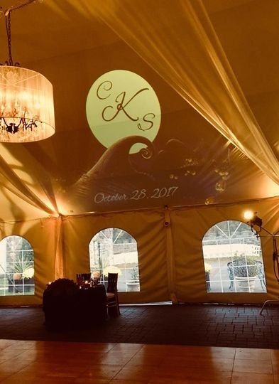 Reception tent lighting and gobo projection