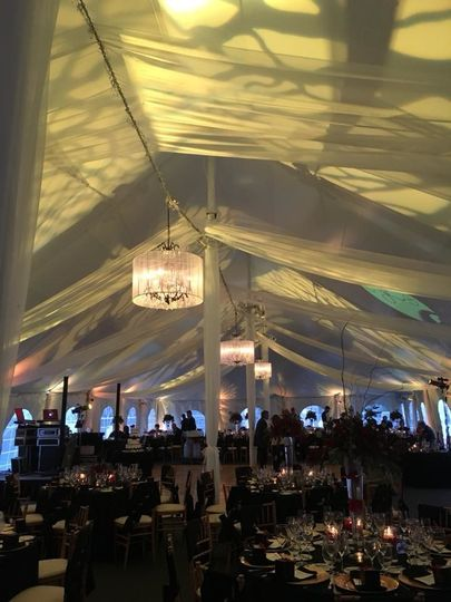 Reception tent lighting