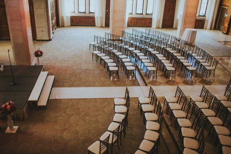 Ballroom ceremony Layout from Mezzanine