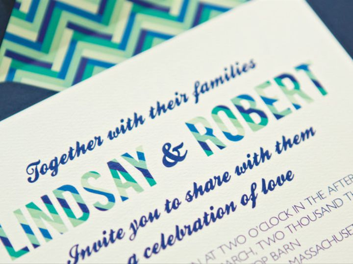 Tmx 1399594583759 Blue Herringbone Plymouth wedding invitation