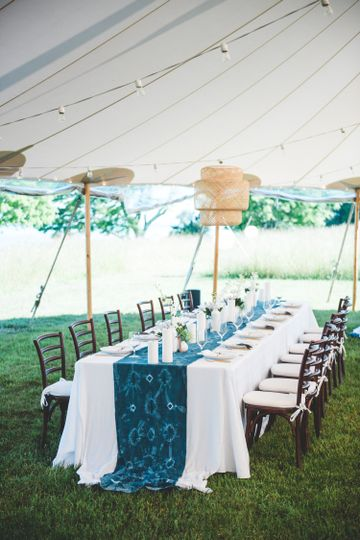Long tables with blue cloths
