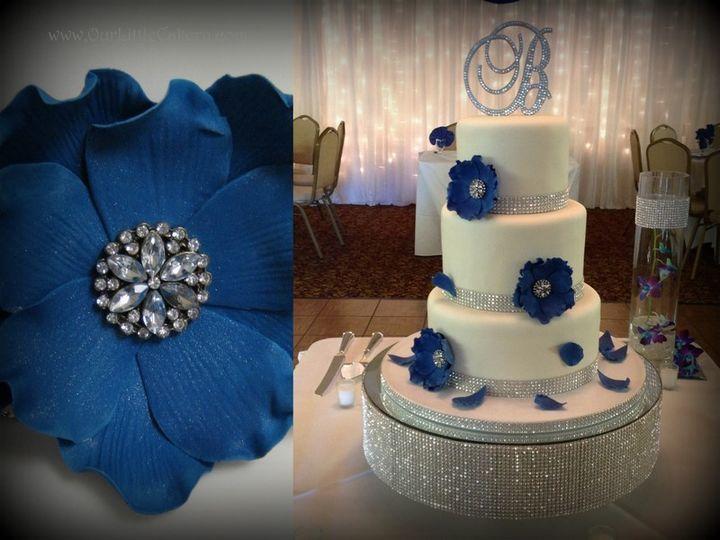 Tmx 1415811449429 0monica Wedding Blue Flowers Fresno wedding cake