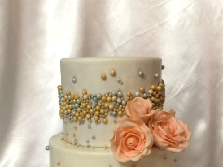 Tmx 1415811465225 0pearls And Peachy Roses Fresno wedding cake