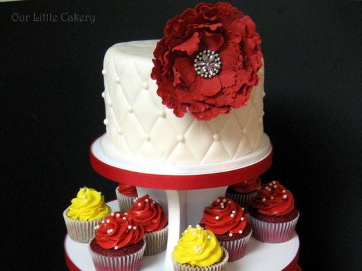 Tmx 1415811516863 0vintage Wedding Red Yellow Fresno wedding cake