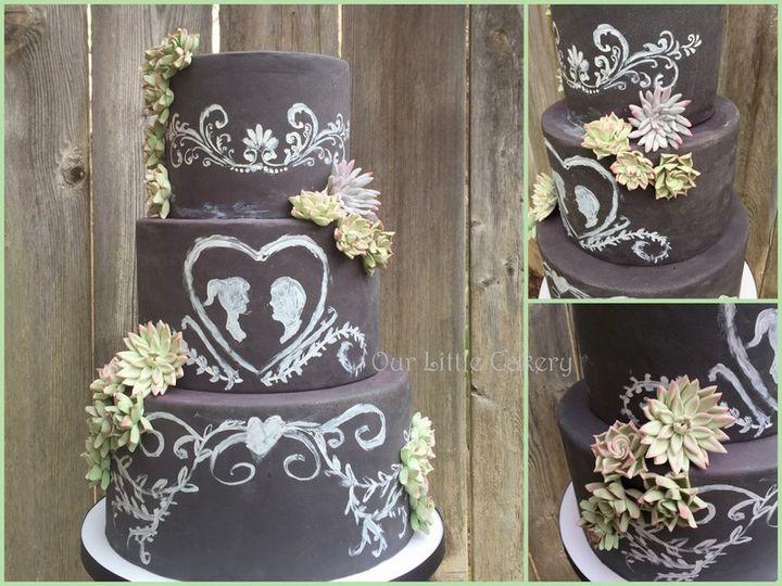 Tmx 1426355347031 0chalkboard And Succulants Fresno wedding cake
