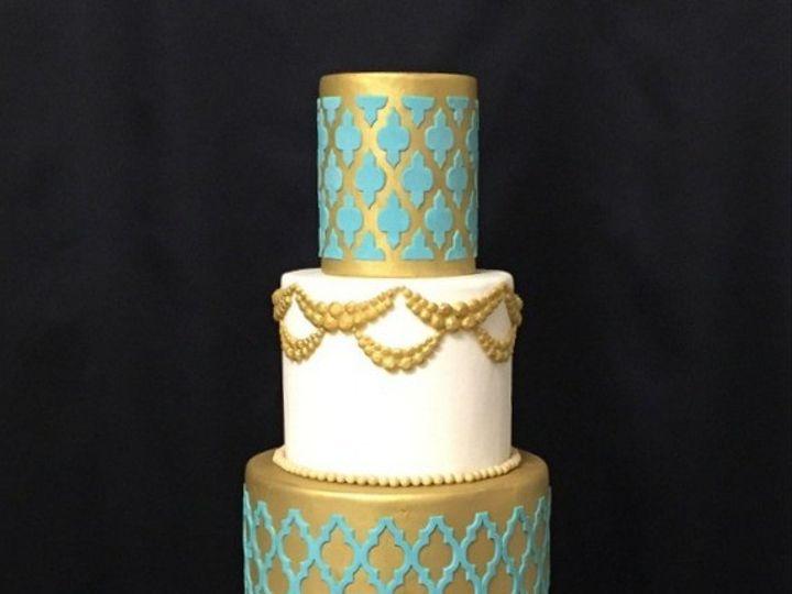 Tmx 1426355350613 00moroccoan Gold Teal Cake Fresno wedding cake