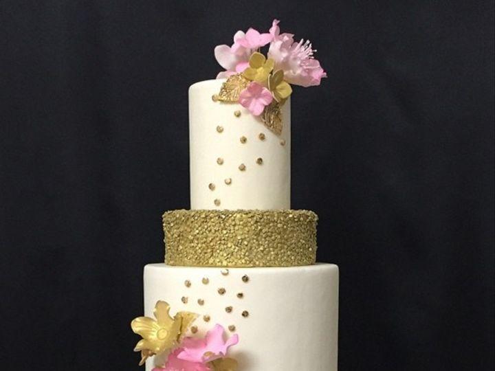 Tmx 1426355372018 0gold Sequince Fresno wedding cake