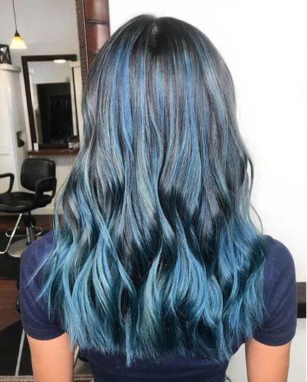 Blue colored hair