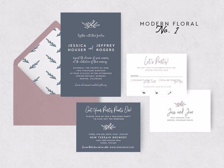 Tmx Modernfloral1 51 1015300 1571754135 Denver, CO wedding invitation