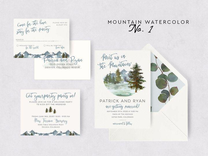 Tmx Mountain Watercolor 1 51 1015300 1571754332 Denver, CO wedding invitation