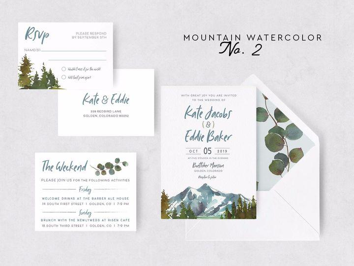 Tmx Mountain Watercolor 2 51 1015300 1571754350 Denver, CO wedding invitation