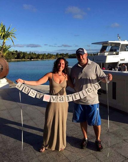 Kristin and Daniel's Tahiti honeymoon.  Here they are on arrival in Bora Bora, French Polynesia....
