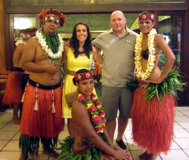 Kristin and Daniel's Tahiti honeymoon. Hanging out with the Polynesian dancers at the romantic...